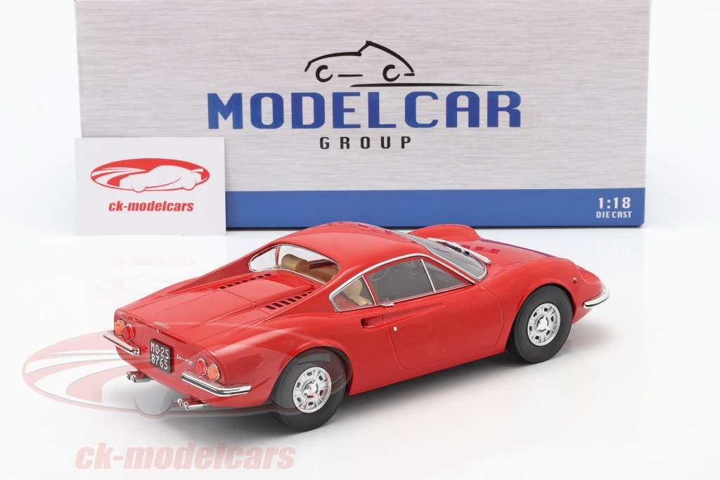 Ferrari Dino 246 GT Byggeår 1969 rød 1:18 Model Car Group