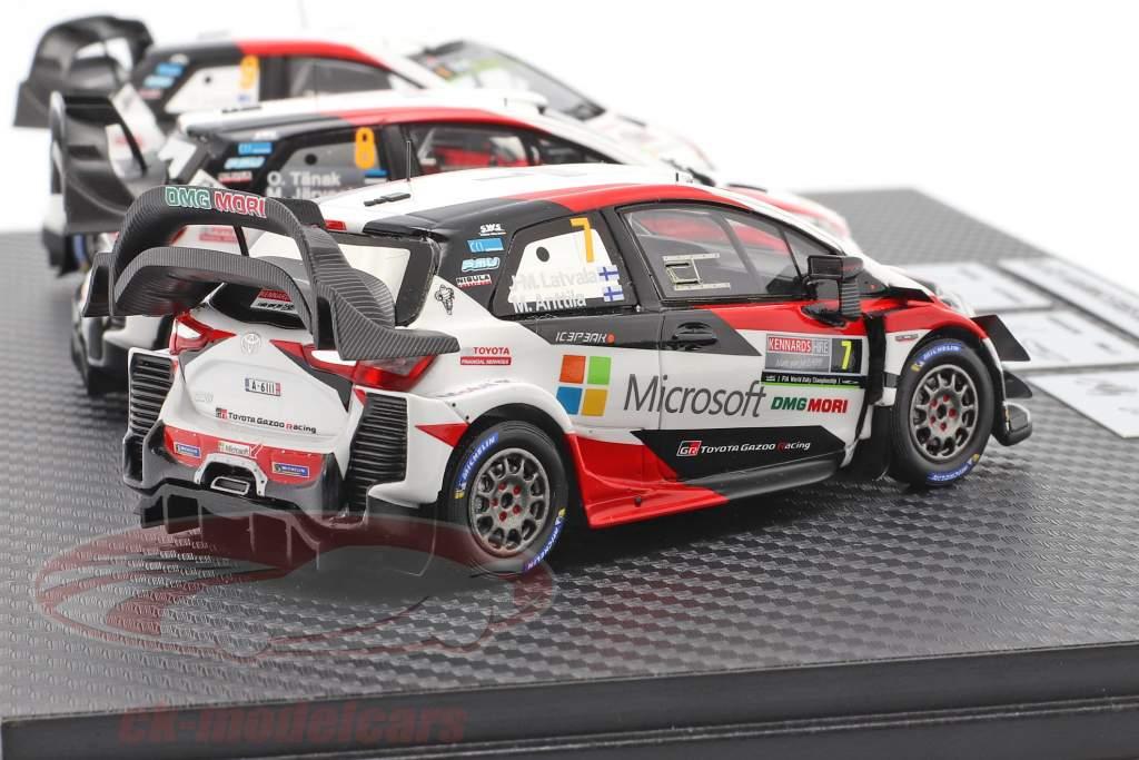 3 wagens Set Toyota Gazoo Racing WRC 2018 Series Fabrikant kampioen 1:43 Spark