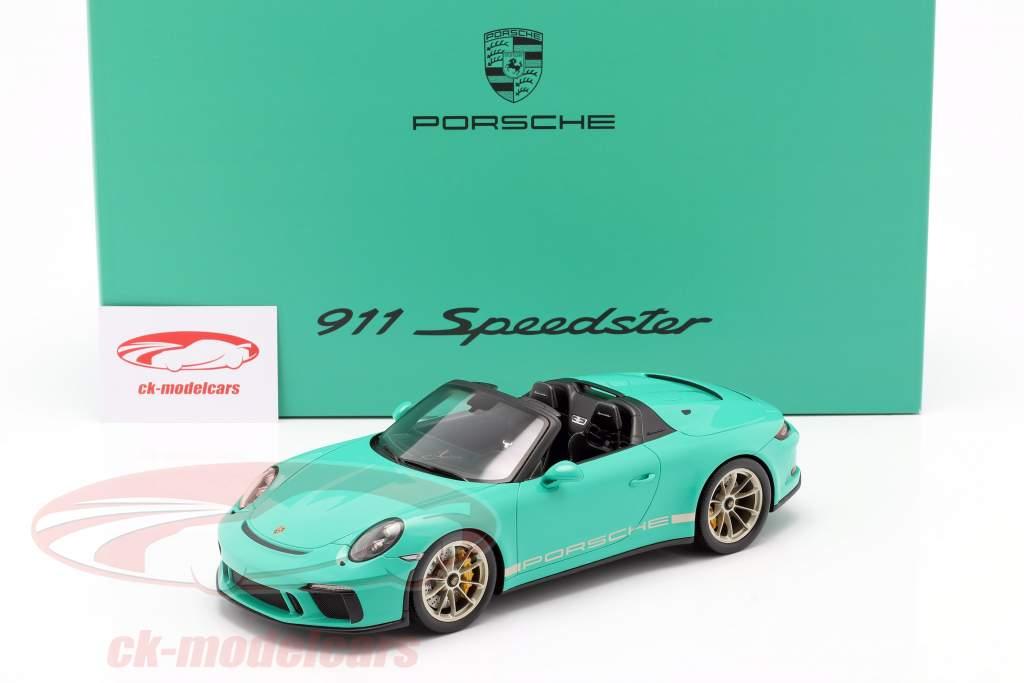 Porsche 911 (991 II) Speedster jadegrün mit Vitrine 1:18 Spark