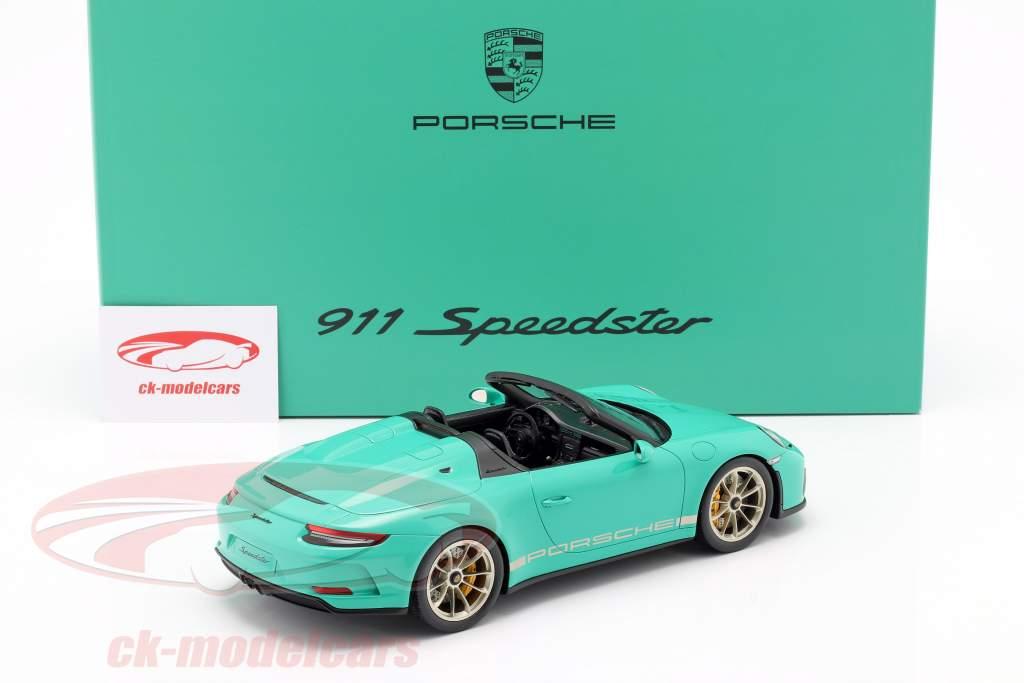 Porsche 911 (991 II) Speedster Jade verde Con Escaparate 1:18 Spark