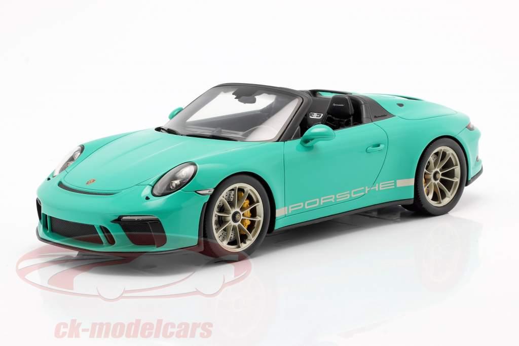 Porsche 911 (991 II) Speedster verde giada Con vetrina 1:18 Spark