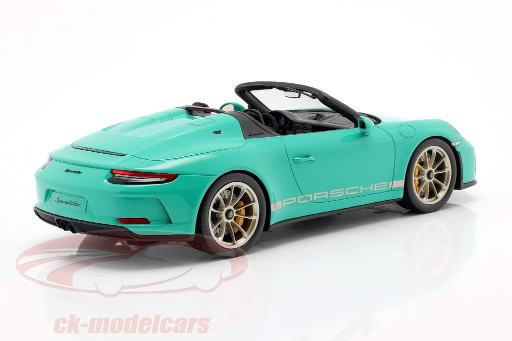 Porsche 911 (991 II) Speedster jade grøn Med Udstillingsvindue 1:18 Spark