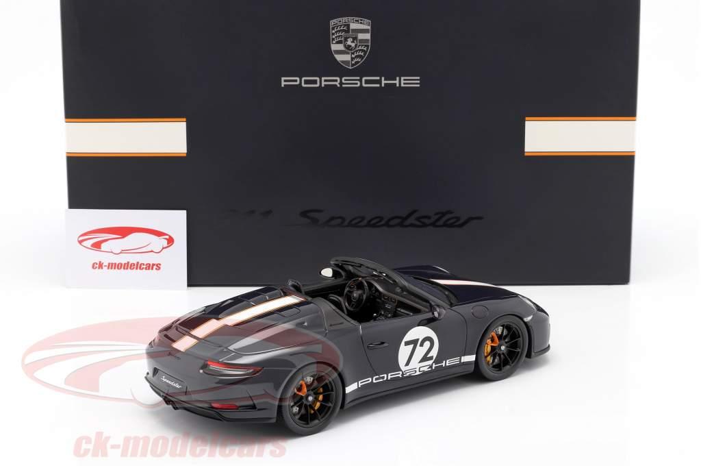 Porsche 911 (991 II) Speedster #72 meerblau mit Vitrine 1:18 Spark
