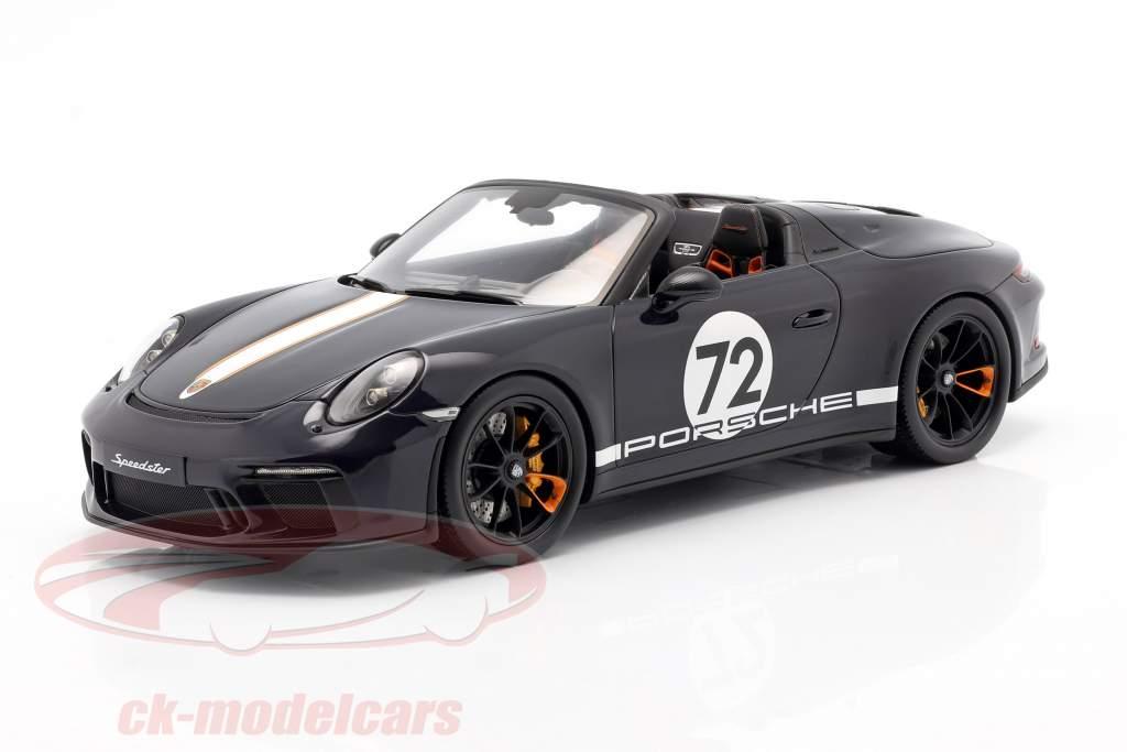 Porsche 911 (991 II) Speedster #72 mar azul Con Escaparate 1:18 Spark
