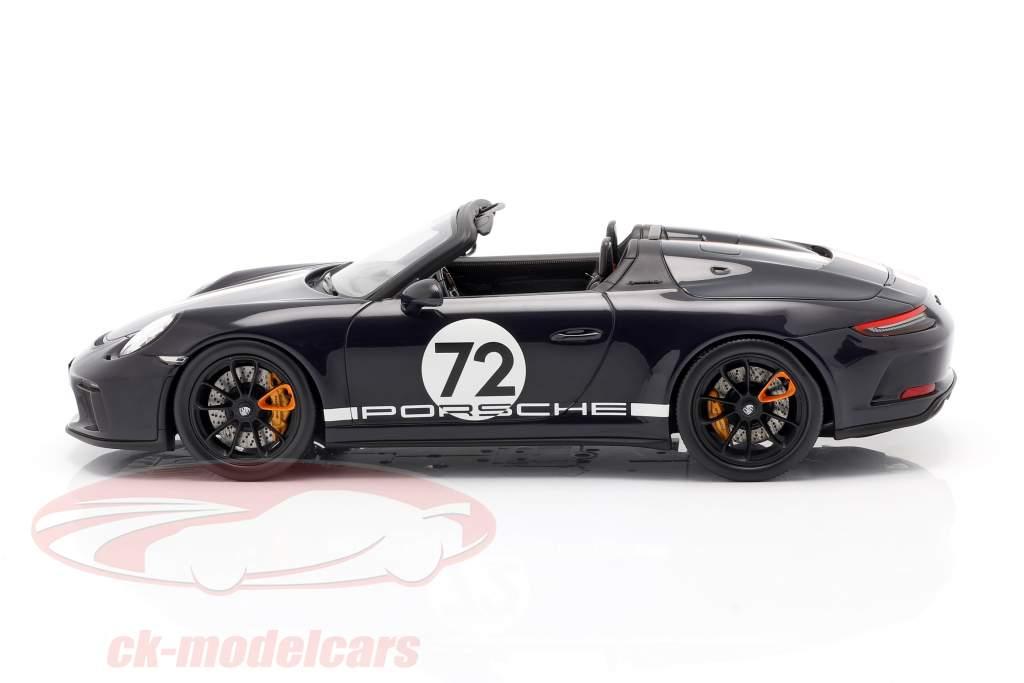 Porsche 911 (991 II) Speedster #72 dark sea blue with showcase 1:18 Spark