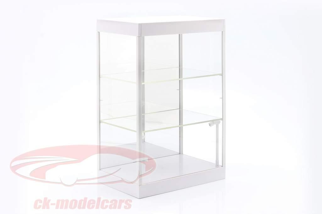 Enkelt udstillingsvindue Med Led lys og spejl Til vægt 1:18, 1:24, 1:43 hvid Triple9