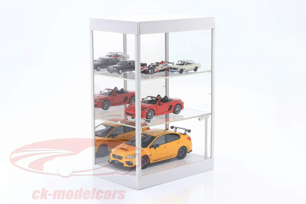 Single showcase with LED lighting and mirror for scale 1:18, 1:24, 1:43 White Triple9