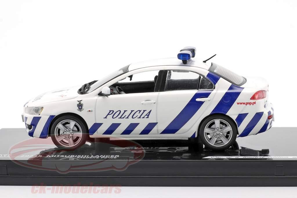 Mitsubishi Lancer policía Madeira Año de construcción 2010 Blanco / azul 1:43 Vitesse