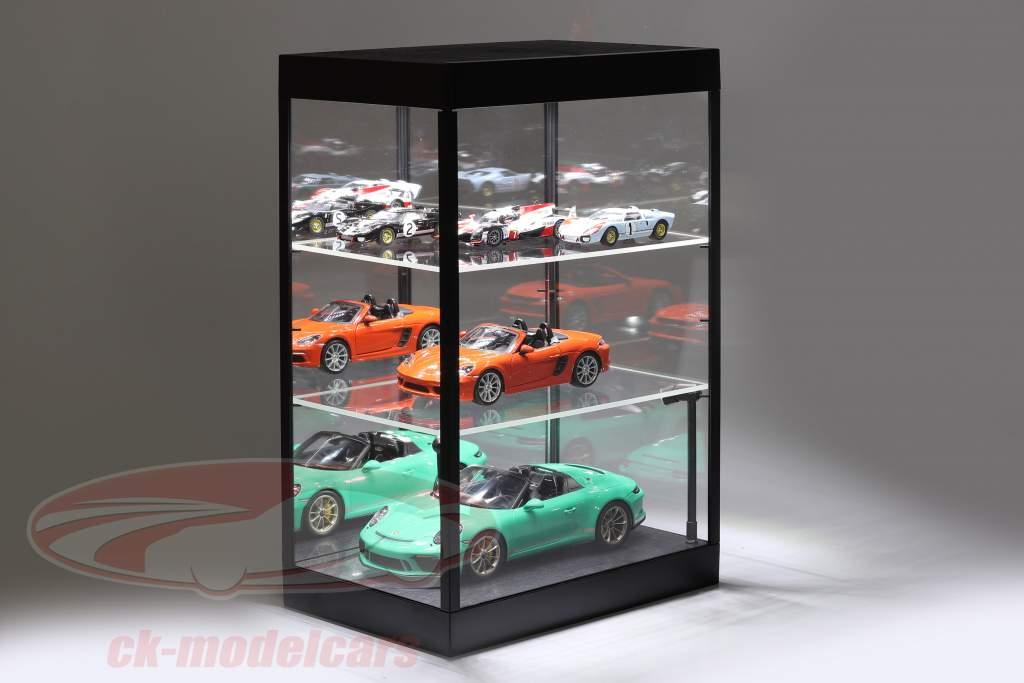 Montra individual Com Iluminação LED e espelho Para escala 1:18, 1:24, 1:43 Preto Triple9
