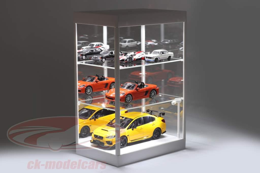 单展柜 用 LED照明 和 镜子 对于 规模 1:18, 1:24, 1:43 白色 Triple9
