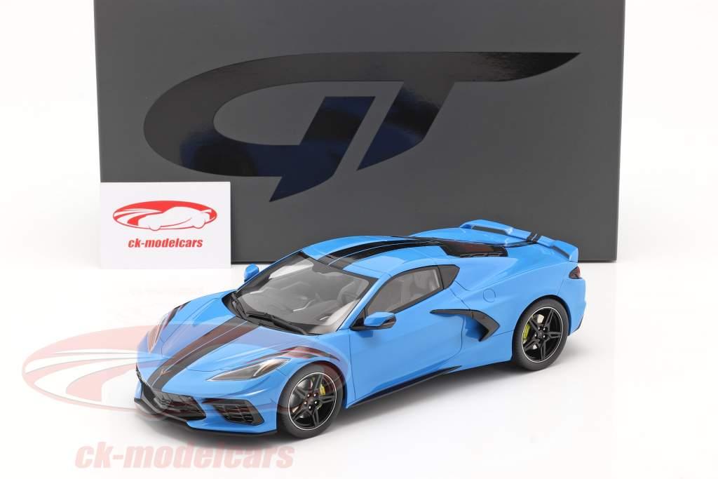Chevrolet Corvette C8 Baujahr 2020 blau / schwarz 1:18 GT-Spirit