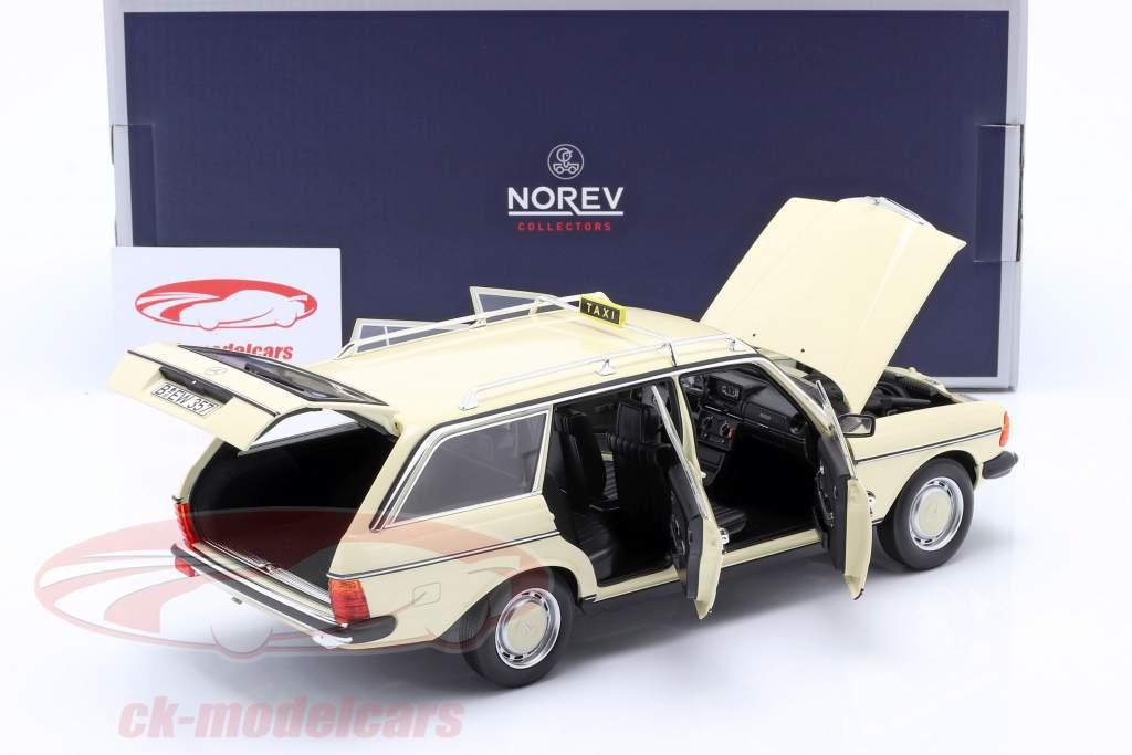 Mercedes-Benz 200 T (S123) Taxi Byggeår 1982 lys elfenben 1.18 Norev