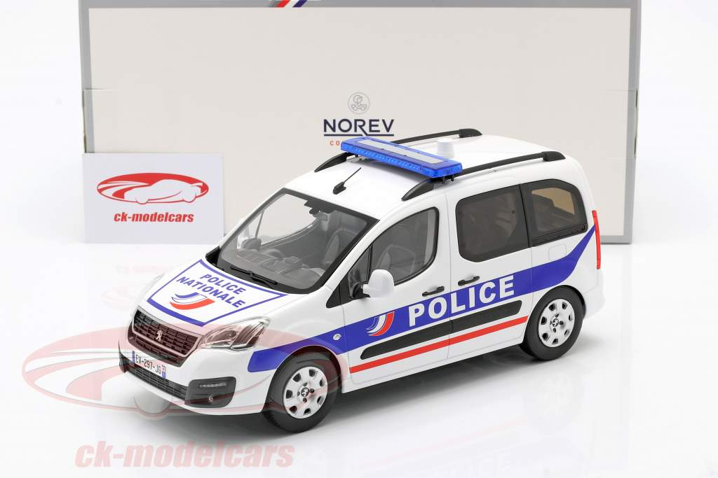 Peugeot Partner Police Nationale Année de construction 2017 blanc / bleu 1:18 Norev