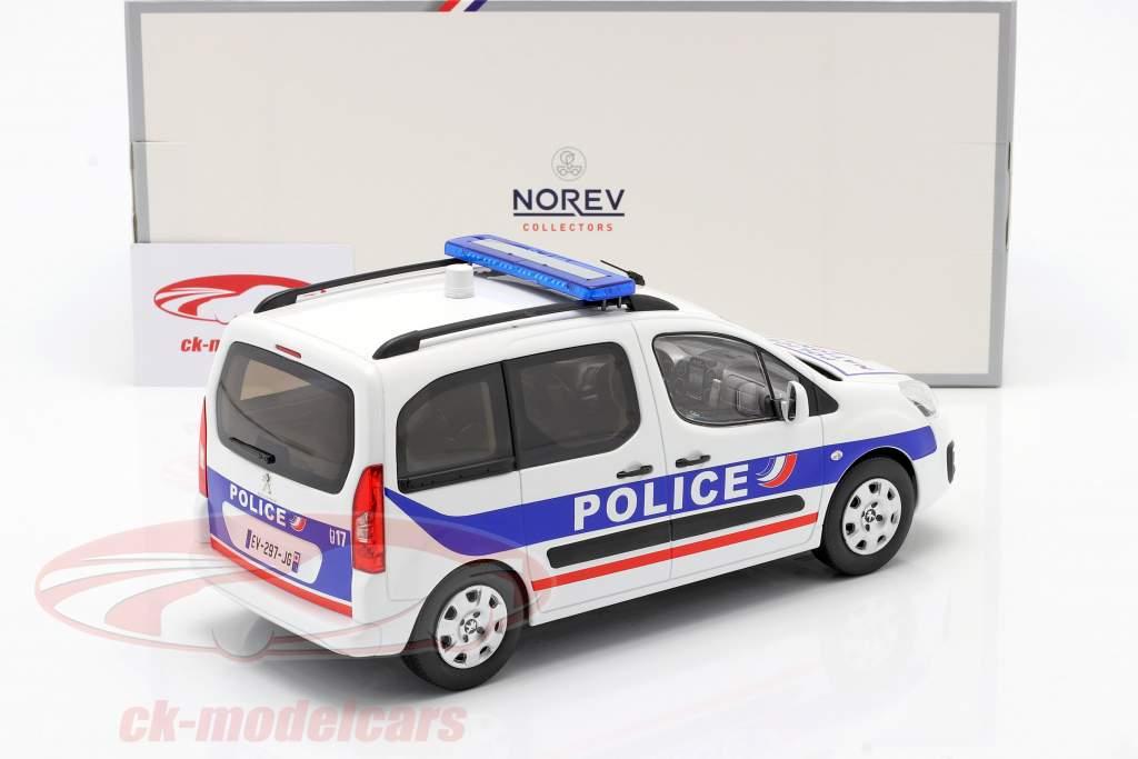 Peugeot Partner Police Nationale Bouwjaar 2017 Wit / blauw 1:18 Norev