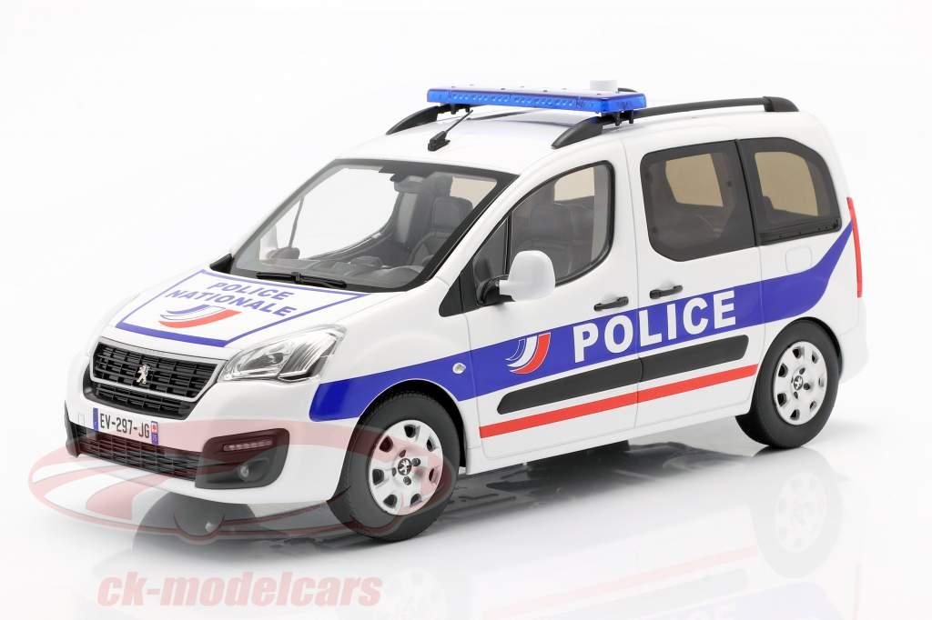 Peugeot Partner Police Nationale Año de construcción 2017 Blanco / azul 1:18 Norev