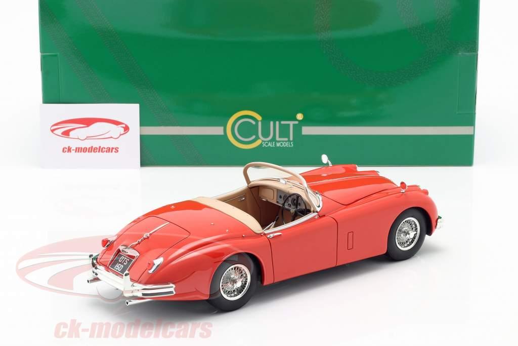 Jaguar XK150 OTS Roadster Bouwjaar 1958 rood 1:18 Cult Scale