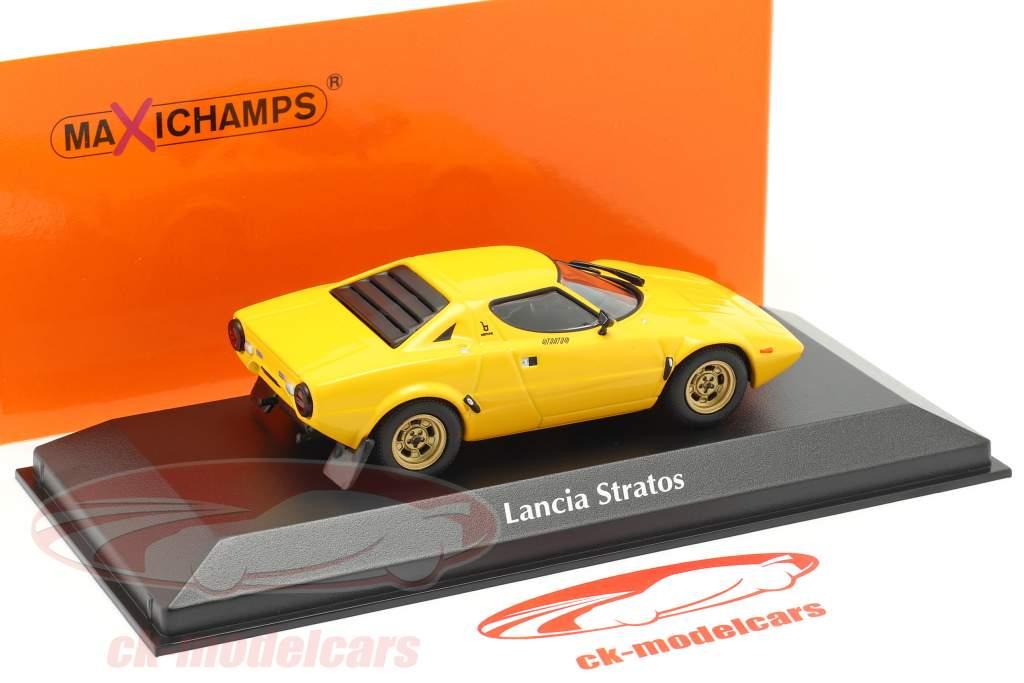 Lancia Stratos Bouwjaar 1974 geel 1:43 Minichamps