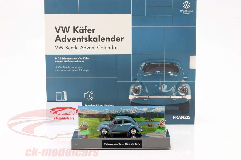 VW Kever Adventskalender 2020: Volkswagen VW Kever blauw 1:43 Franzis