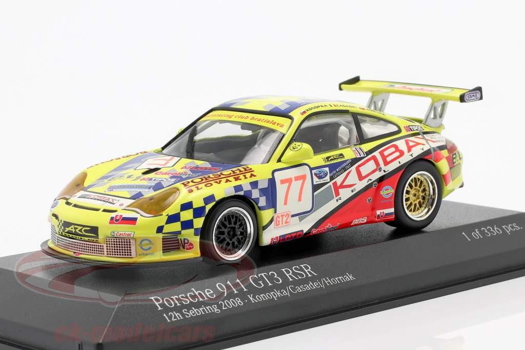 Porsche 911 (997) GT3 RSR #77 12h Sebring 2008 Konopka, Casadei, Hornak 1:43 Minichamps