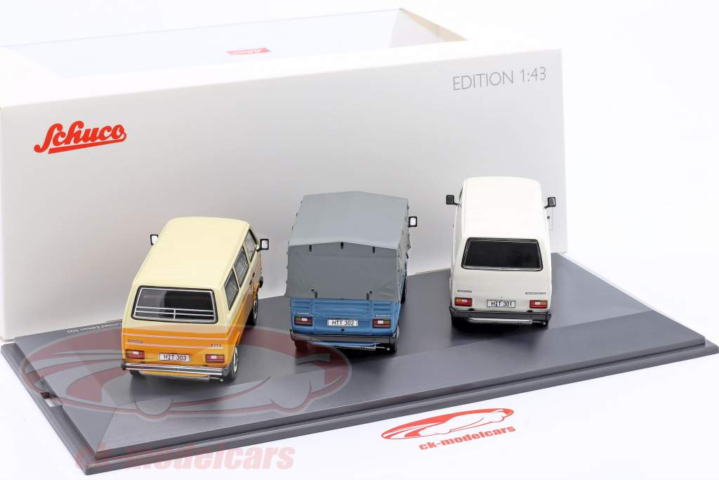3-Car Set: 40 Flere år Volkswagen VW T3 Bus 1:43 Schuco