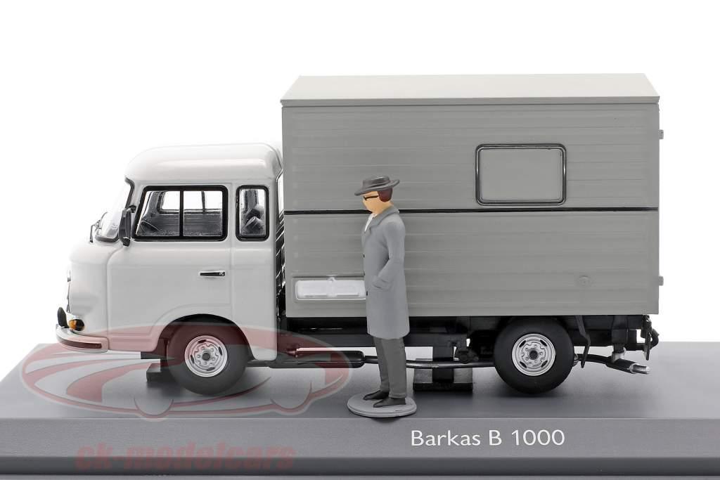 Barkas B 1000 Cuerpo de caja Transportador Stasi Con figura gris 1:43 Schuco
