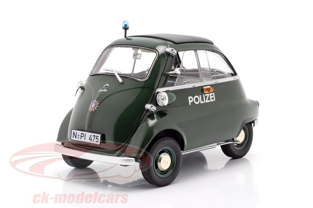 BMW Isetta Export politi Byggeår 1955 - 1962 mørkegrøn 1:18 Schuco