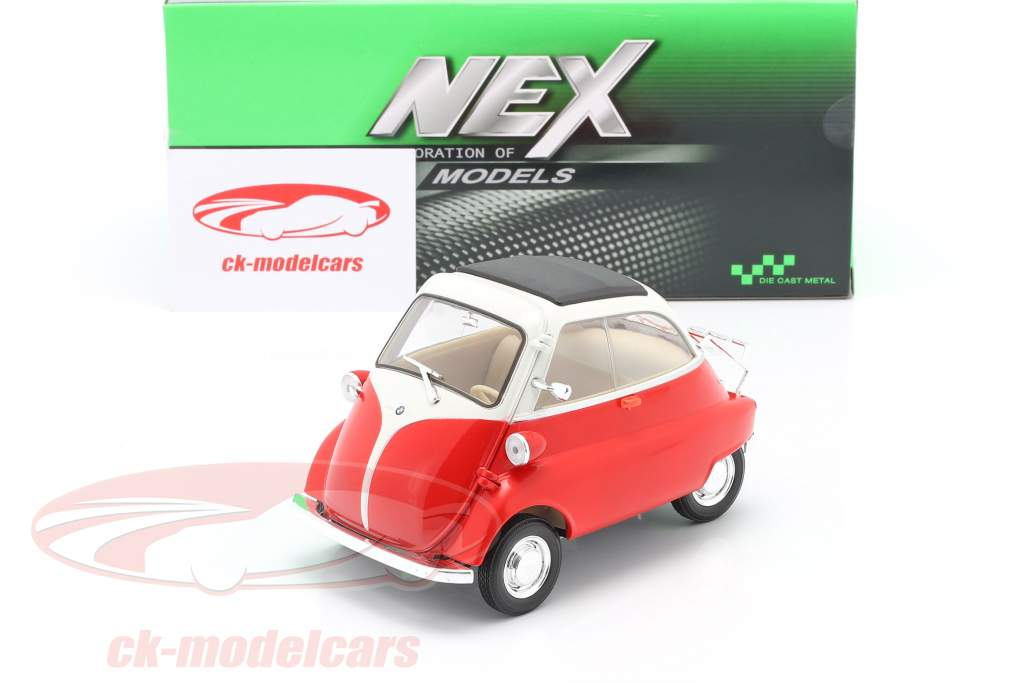 BMW Isetta 250 Année de construction 1959 rouge / blanc 1:18 Welly