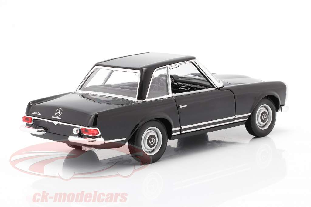 Mercedes-Benz 230 SL (W113) Hardtop Bouwjaar 1963 zwart 1:24 Welly