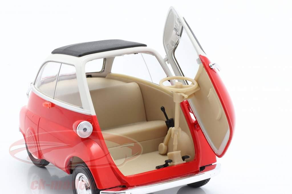 BMW Isetta 250 Bouwjaar 1959 rood / Wit 1:18 Welly