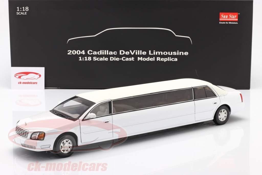 Cadillac DeVille Limousine year 2004 white 1:18 SunStar