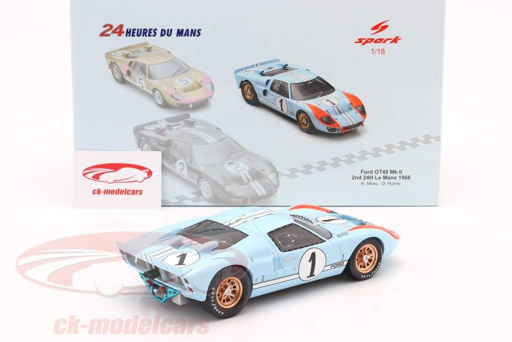 Ford GT40 MK II #1 2. plads 24h LeMans 1966 Miles, Hulme 1:18 Spark