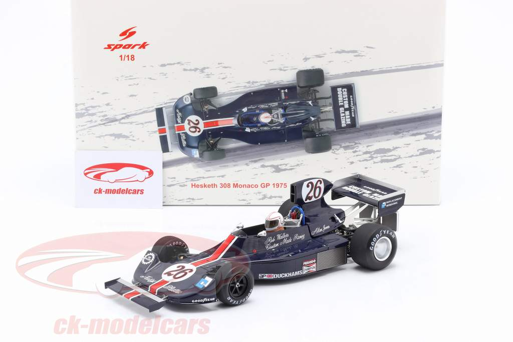 Alan Jones Hesketh 308 #26 Monaco GP formule 1 1975 1:18 Spark