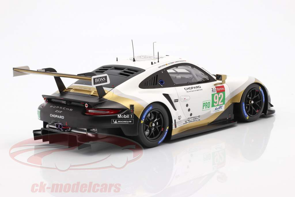 Porsche 911 RSR GTE #92 24h LeMans 2019 Christensen, Estre, Vanthoor 1:18 Spark