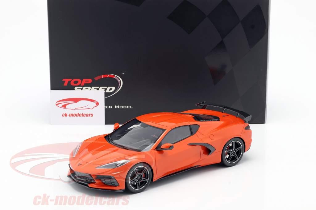 Chevrolet Corvette C8 Stingray with High Wing year 2020 orange 1:18 TrueScale