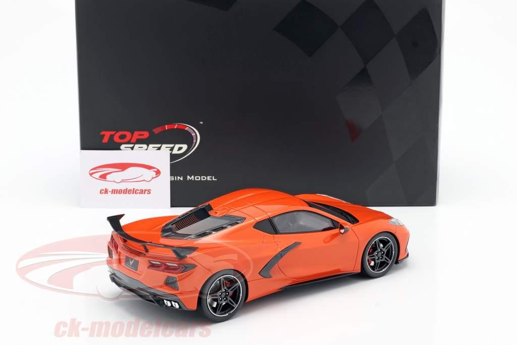 Chevrolet Corvette C8 Stingray Met High Wing Bouwjaar 2020 oranje 1:18 TrueScale