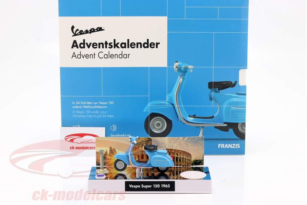 Vespa Calendario de adviento 2020: Vespa Año de construcción 1965 azul 1:43 Franzis