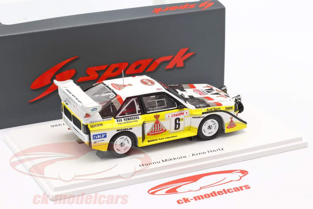 Audi Quattro Sport E2 #6 3rd Rallye Monte Carlo 1986 Mikkola, Hertz 1:43 Spark