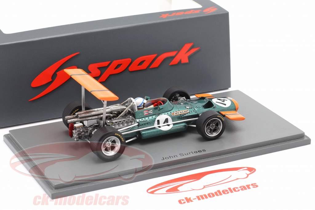 John Surtees BRM P138 #14 5. plads spansk GP formel 1 1969 1:43 Spark