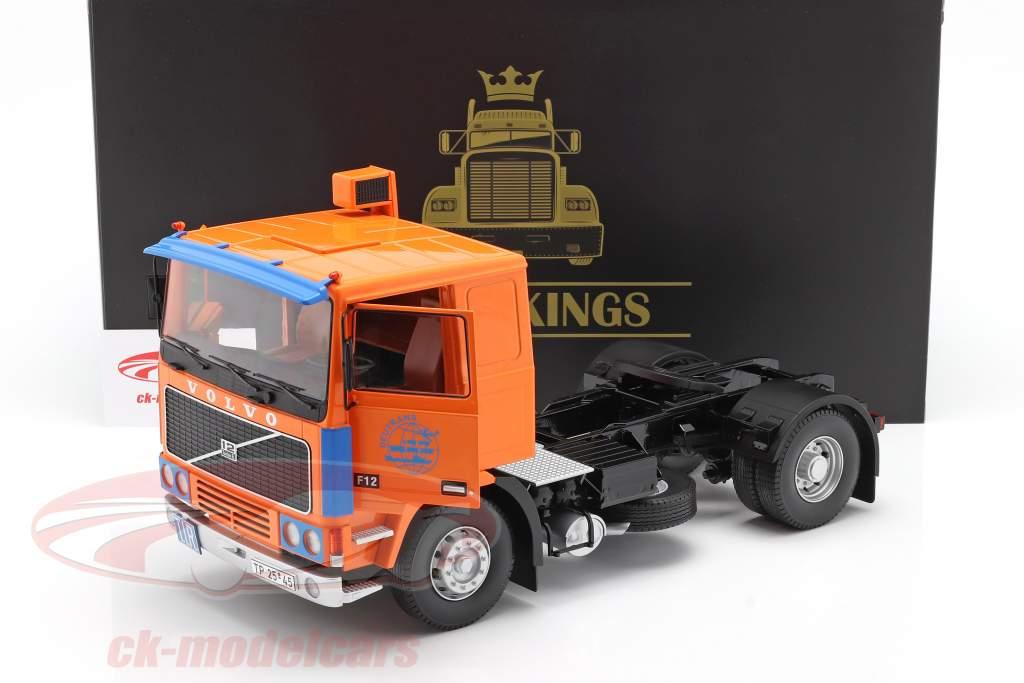 Volvo F12 Vrachtwagen Deutrans Bouwjaar 1977 oranje / blauw 1:18 Road Kings