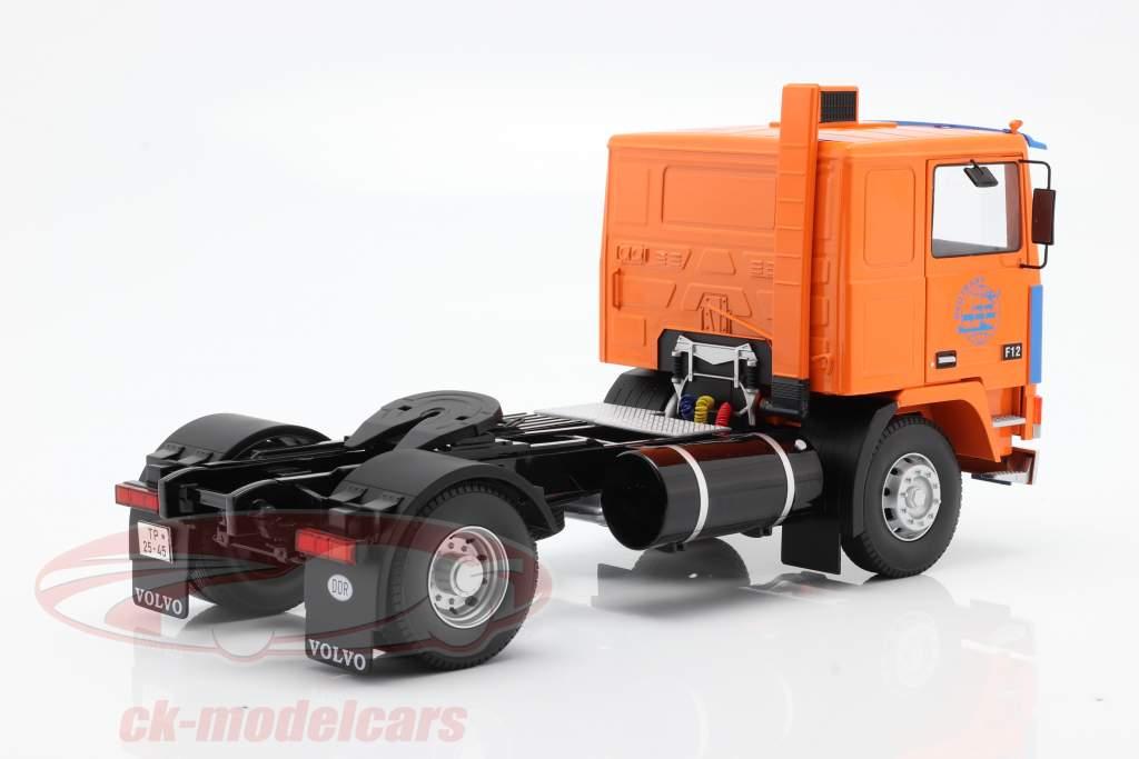 Volvo F12 Truck Deutrans year 1977 orange / blue 1:18 Road Kings
