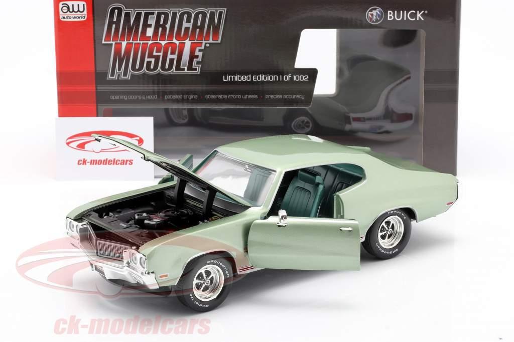 Buick Grand Sport 455 Hardtop Año de construcción 1970 niebla marina verde 1:18 AutoWorld