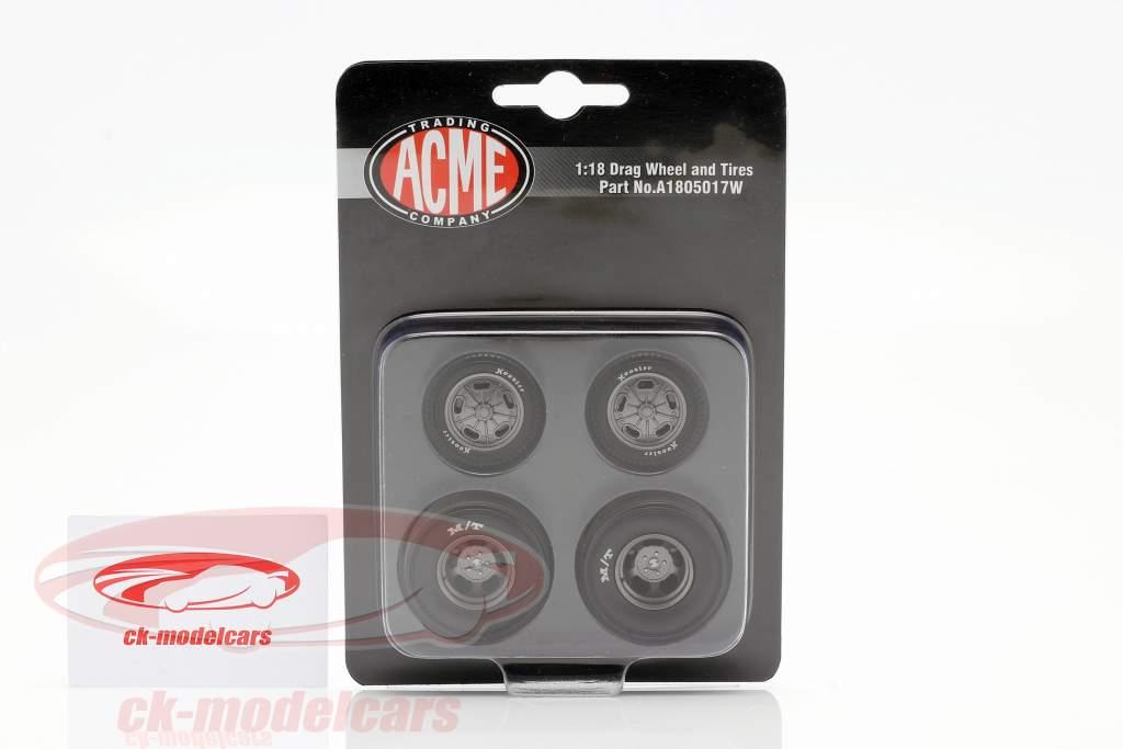 Pork Chop Drag Wheel & Tire Set 1:18 GMP