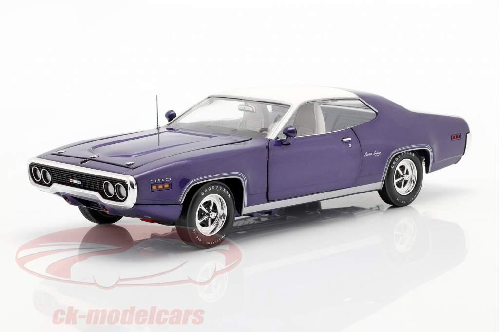 Plymouth Satellite Sebring Plus Bouwjaar 1971 paars metalen / Wit 1:18 AutoWorld
