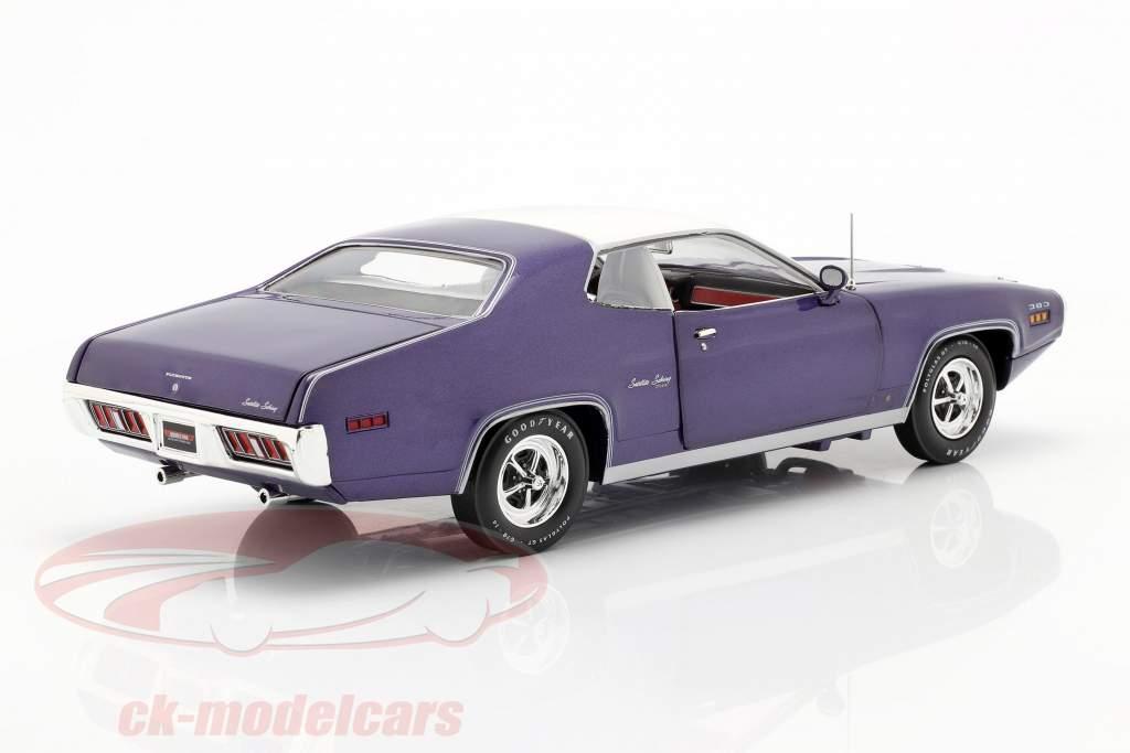 Plymouth Satellite Sebring Plus Année de construction 1971 violet métallique / blanc 1:18 AutoWorld