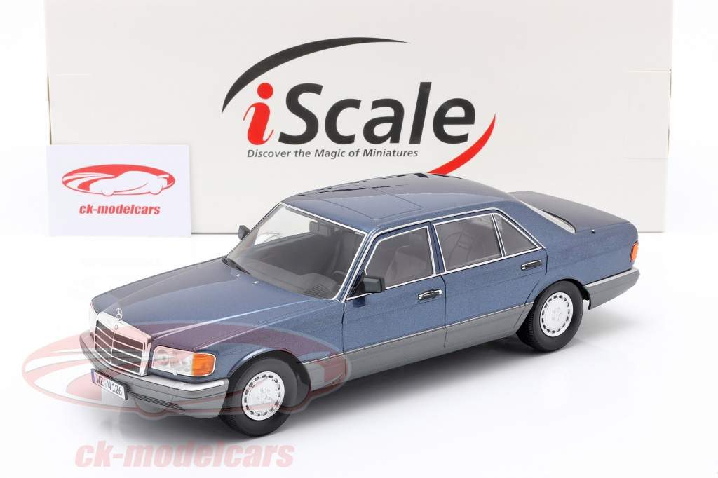 Mercedes-Benz 560 SEL Classe S (W126) 1985 azul náutico metálico 1:18 iScale