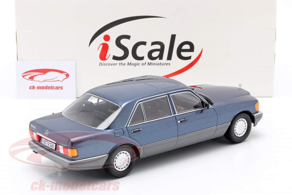 Mercedes-Benz 560 SEL S-class (W126) 1985 nautical blue metallic 1:18 iScale