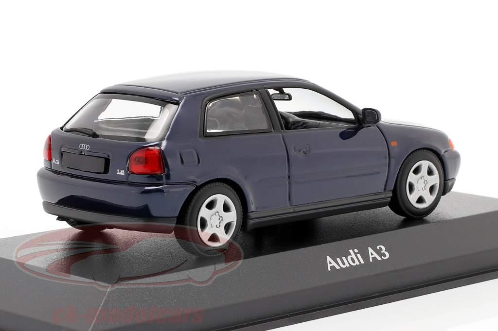 Audi A3 (8L) Année de construction 1996 bleu métallique 1:43 Minichamps