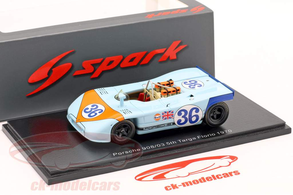 Porsche 908/03 #36 5. plads Targa Florio 1970 Waldegaard, Attwood 1:43 Spark