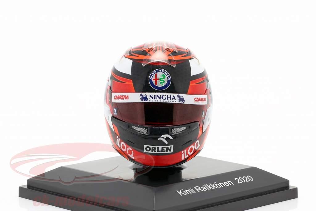 Kimi Räikkönen #7 Alfa Romeo Racing Orlen Formel 1 2020 Helm 1:8 Spark