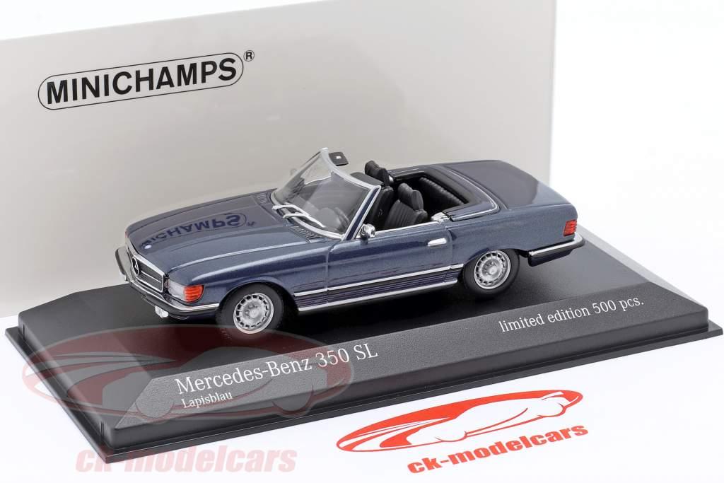 Mercedes-Benz 350 SL (R107) Bouwjaar 1974 blauw metalen 1:43 Minichamps